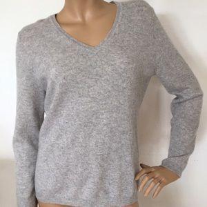 Charter Club Luxury Cashmere Gray V Neck Sweater L